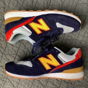 New Balance 696 Navy Yellow Red Sneakers